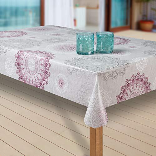 laro Wachstuch-Tischdecke Abwaschbar Garten-Tischdecke Wachstischdecke PVC Plastik-Tischdecken Eckig Meterware Wasserabweisend Abwischbar G03, Muster:Mandala grau-rot, Größe:40x40 cm Muster