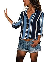 8fc9f4dbc Aleumdr Mujer Blusa Cuello En V Camiseta de Mangas Largas Camisa con  Botones Size S-