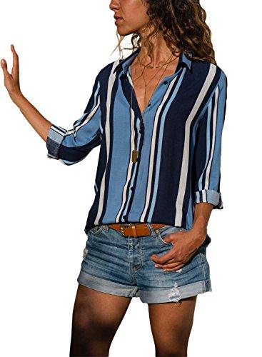 Aleumdr Mujer Blusa Plus Size Blouse Rayas Larga Camiseta