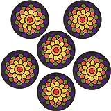 Planet Ethnic Weich-PVC-Runde Blume Designer Untersetzer Set (6Untersetzer). 10,2cm Durchmesser, 0,5cm Dick.