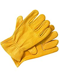 Dickies men's unlined leather gloves - Yellow