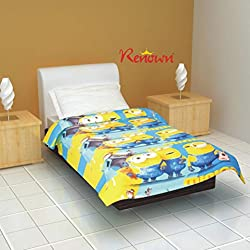 Renown Minions Cartoon Kids Design Print Reversible Single Bed Quilt / AC Blanket / Dohar