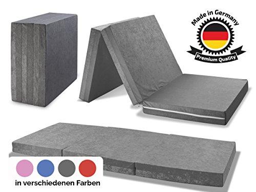 MADE IN GERMANY - Faltmatratze Klappmatratze DANIELA 80x195x10cm - abnehmbar & waschbarer Bezug - als Gästebett, Gästematratze, Notbett oder Klappbett einsetzbar (grau)