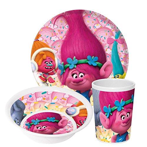Trolls Poppy Kindergeschirr mit Teller Müslischüssel Trinkbecher - Frühstückset Melamin - Dj-besteck