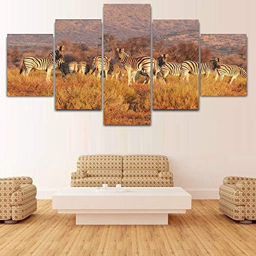 HQATPR Leinwand Malerei 5 Stücke Bilder Wilde Tiere Zebras Hd Prints Leinwand Malerei Wand Poster Wohnzimmer Moderne Kunstwerk Wanddekor Charts Große Größe Mit Rahmen -