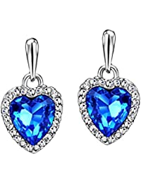 Ananth Jewels Swarovski Blue Austria Crystal Rhinestone Platinum Plated Heart Drop Earrings For Women