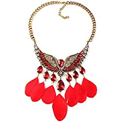 Rrimin Gemstone Feather Tassel Wing Shape Necklace Jewelry Gift Hot Fashion Necklace for Women