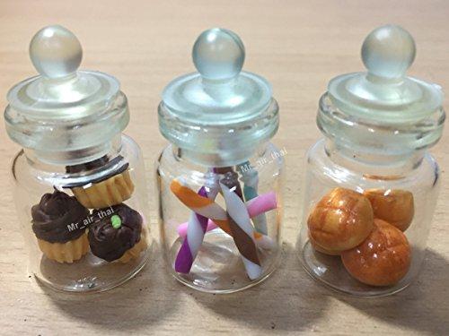 3-Teiliges Miniatur Lebensmittel Cookie Schokolade Kuchen Puppenhaus Donut Candy Brot in Klar Glas Mini Flasche Fruit # MF063 (Miniatur-thai-food)