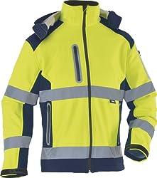 TRIUSO wasserabweisende Warnschutzsoftshelljacke mit heraustrennbarer Kapuze in gelb VW177YS in Größe L
