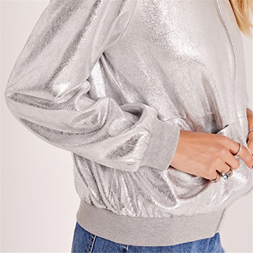 Reißverschluss Vorne Zip Up Shiny Metallic Silber Bomberjacke Blouson Aviator Flight Jacket Jacke Oberteil Top - 5