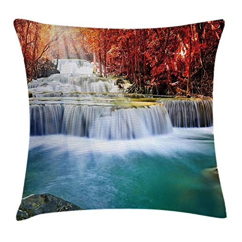 Waterfall Decor Throw Pillow Cushion Cover by, Majestic Gradual Waterfall Circled by Red Fall Trees with Radiate of Sun, Decorative Square Accent Pillow Case, 18 X 18 Inches, Blue and Red