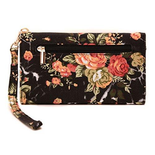 conze Fashion Téléphone portable petit sac de transport avec sangle croix corps pour ZTE Obsidienne/Maven (Sonde spatiale)/Ouverture 2/Fanfare Black + Flower Black + Flower