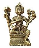 Himalayan Treasures Ottone Brahma Prajapati Vishnu Shiva divinità indù Statua amuleto A12