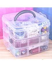 Zollyss 3 Layers Detachable DIY Desktop Storage Box Transparent Plastic Storage Box Jewelry Organizer Holder Cabinets for Small Objects (Size: 15 * 15 * 13cm)