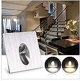 6er 1w LED Treppenbeleuchtung Treppenleuchte Wand Einbauleuchte Einbaustrahler Treppenlicht Flurleuchte Nachtlicht 230v AC (Warmweiß)