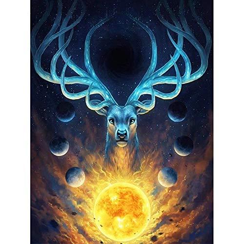 i Vollbohrer Runde Fireball Blue Deer Mosaik DIY Kreuzstich Stickerei Home Decor ()