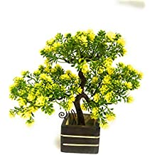 Green Farms Bonsai Wild Artificial Plants with Wooden Pot Yellow