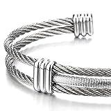 Edelstahl Elastische Herren Damen Armband Verstellbare Stahlkabel Armreif Farbe Silber - 3