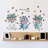 HhGold Das Wohnzimmer Wall Sticker Art Treppe Wand Papier Dekorationen Landhausstil frische Kleine Aquarell Schmetterling Bonsai Pots, 60 * 40 cm.