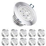 Pocketman 10 x 220V 5W LED Faretti da incasso, Lampada da soffitto, con trasformatore, bianco caldo, 280-300 lumen (30W equivalente)