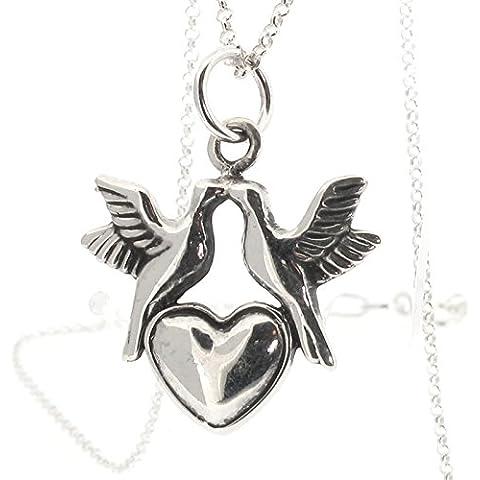 Love Birds, in argento Sterling e ciondolo a forma di cuore su catenina regolabile 40/(18 45,72 cm