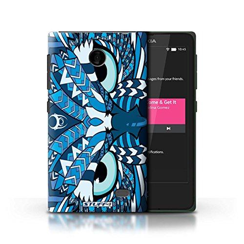 Kobalt® Imprimé Etui / Coque pour Nokia X / Tigre-Couleur conception / Série Motif Animaux Aztec Hibou-Bleu