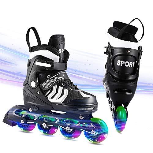 WeSkate Inline Skates Kinder verstellbar mädchen/Jungen Inline Skates Blinkende Beleuchtung Räder Rollschuhe PU Verschleißfeste Outdoor Inline Skates Herren/Damen (Größe31-42)