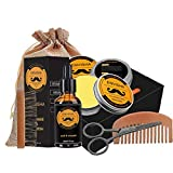 6 Pc/Insieme Care Kit Barba Include Barba Balsamo Pennello Olio Scissor Pettine Con Sacco Decor Per Il Regalo Maschio