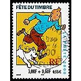 Postage Stamp France 0.55 Euro Tintin Snowy HERGE POSTMARKED Art Print Affranchissement Timbre Neige Impression d'art...