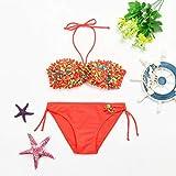 Hunputa Men's Swimwear 2Pcs Flowers Striped Swimwear Bathing Bikini Set Outfits Swimsuit
