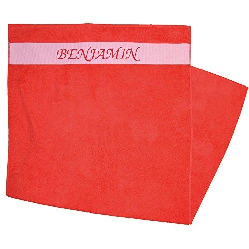 Duschtuch bedruckt mit Vornamen Benjamin rot