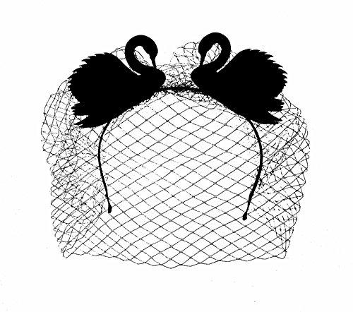 Gothic Black Swan Schwarzer Schwan Haarreif mit Gesichtsschleier