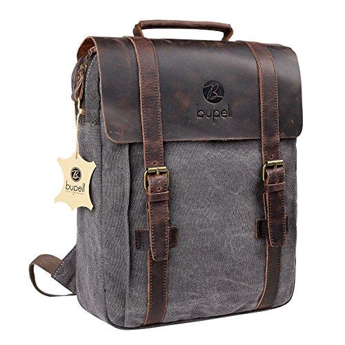 bupell Urban Daypacker Style - Vintage Leder/Canvas Rucksack Backpack für Schule, Uni, Arbeit, Freizeit -