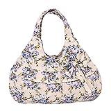 Vicloon Damen Einkaufstasche Handtasche Printed Bowknot Tasche Handtasche Mit Knoten Ohrringe, Blau Blumen