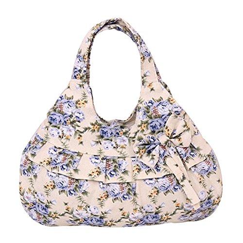Vicloon Damen Einkaufstasche Handtasche Printed Bowknot Tasche Handtasche Mit Knoten Ohrringe, Blau Blumen (Knoten Leinwand)