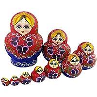 Winterworm Set de 10 rojo y verde flores de madera ruso Nesting Dolls Matryoshka muñeca rusa