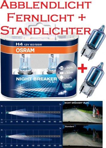Preisvergleich Produktbild Osram Nightbreaker Plus H4 Duo Pack 2. Generation (2 Stück Glühbirnen) + 2 Stück Osram 2825CB W5W Cool Blue Standlichtern