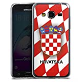 Samsung Galaxy J3 2016 Slim Case transparent Silikon Hülle Schutzhülle Kroatien Em Trikot Football Fussball