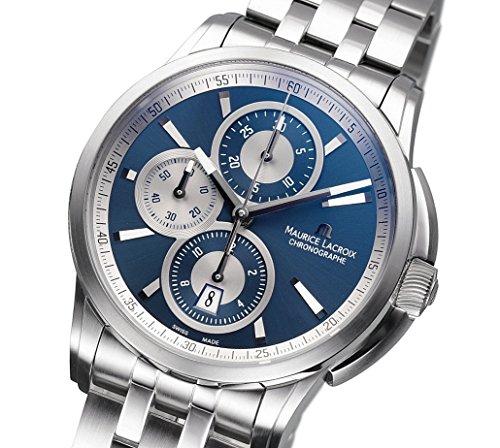 Maurice Lacroix Pontos Chrono Automatik Uhr, Edelstahl, Blau