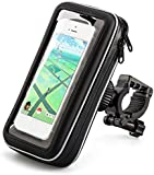 iKross Universal Water-resistant Bicycle Bike Mount Phone Holder Pouch Case for Apple iPhone 6s Plus, Samsung Galaxy S6, Sony, HTC, Motorola, Nokia, LG and Most Smartphones Up to 5.5 Inch - Black