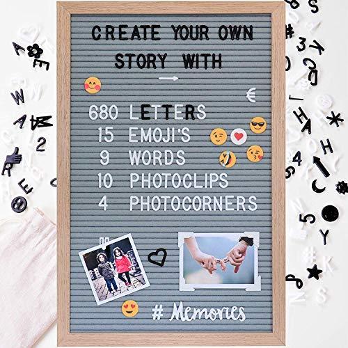 Gadgy Filz Letterboard + 15 Emojis, 10 Fotoclips, 4 Fotoecken, 680 Schwarze & weiße Buchstaben l 45 x 30cm