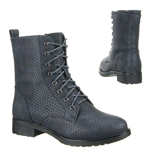Damen Schuhe, W101, STIEFELETTEN Dunkelblau
