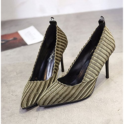 DIMAOL Scarpe Donna PU Inverno della Pompa Base Comfort Tacchi Stiletto Heel Punta per Il Vestito Nero Verde Verde