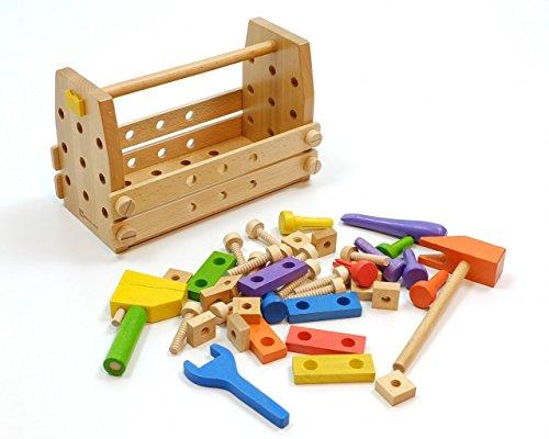 Holz Werkzeugkiste / kleine Werkbank mit viel Zubehör / 42-teiliges Set (Holz Hammer,...