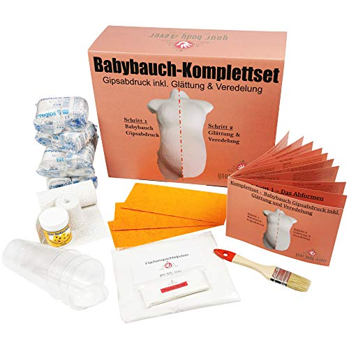 XXL-Komplettset | Babybauch Gipsabdruck-Set inkl. Glättung & Veredelung | 1A Ergebnis mit Detailanleitung + Profimaterial -