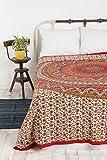Hippie Mandala Bohemian Psychedelische Filigrane Blumenmuster Indische Bedspread magisches Denken Tapestry Kerala Tapestry 84x90 Zoll, (215x230cms) Rot