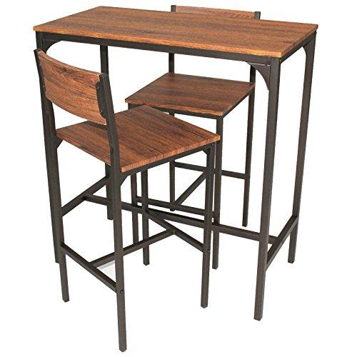YELLOO Mod. VENICE Set Tisch Bar und 2 Hocker Braun Küche Living Modern - Zwei Hocker Set