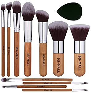 BS-MALL(TM) Premium Synthetic Bamboo Makeup Brushes Sets Plus 1 Piece Makeup Sponges
