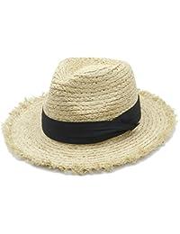 Cappello Sole Fedora a Tesa Larga da Donna in 100% Rafia per Donne Eleganti  ( 94a683a5ae43