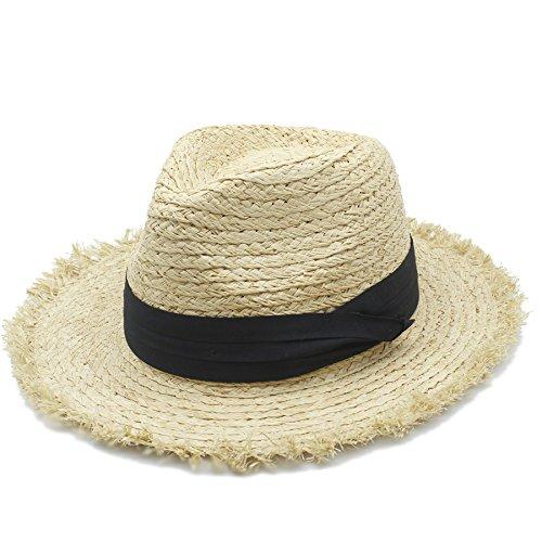 YEXIANG 100% Bast Stoppeln Frauen Männer breiter Krempe Fedora Sonnenhut für raffinierte Dame (Farbe : 1, Größe : 58 cm) -
